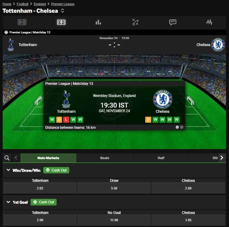 Betway Football Betting Interface Tottenham vs Chelsea Betting Odds