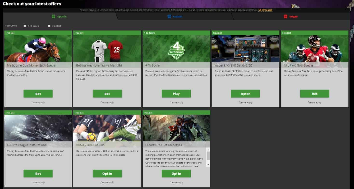 Betway Sports Betting Promotions and Bonuses