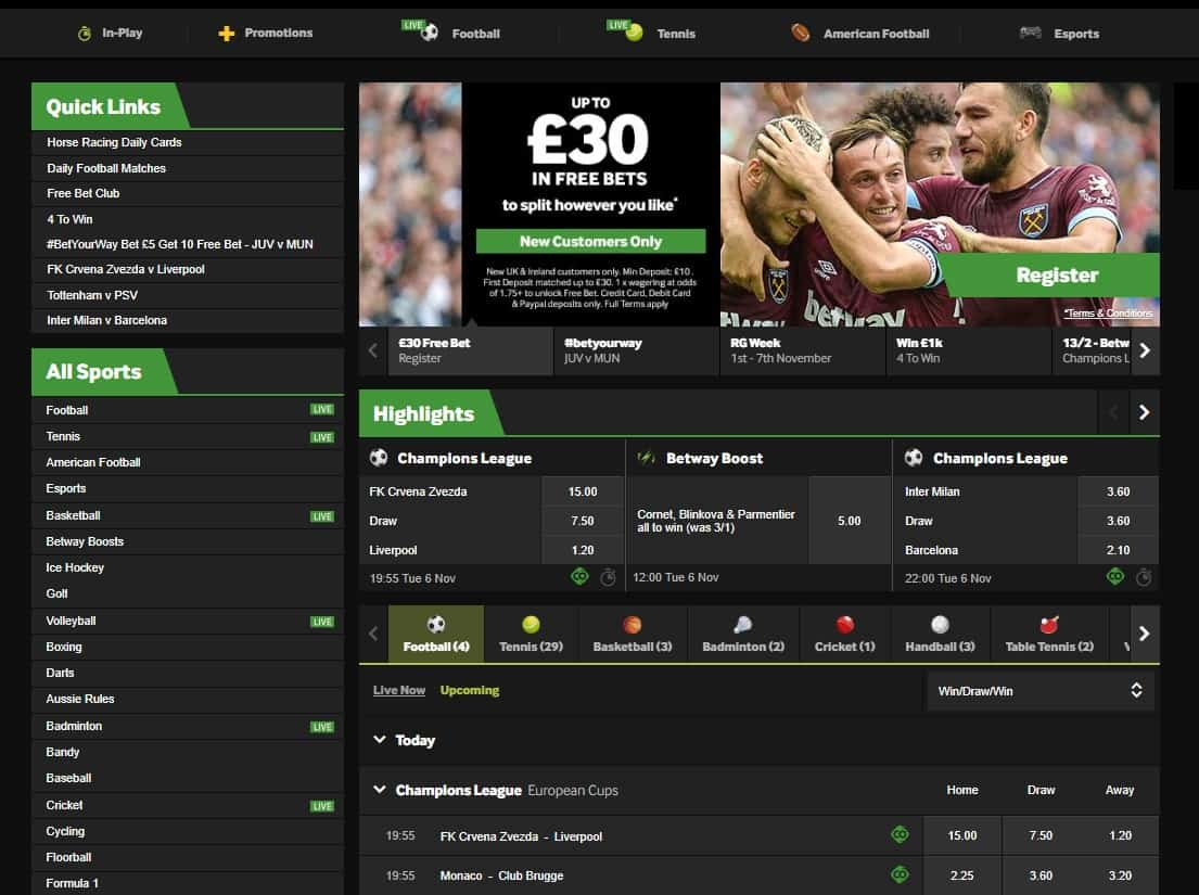 Betway Sports Homepage Layout