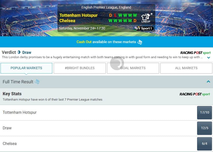 BetBright Football Odds and User Interface Chelsea vs Tottenham Premier League