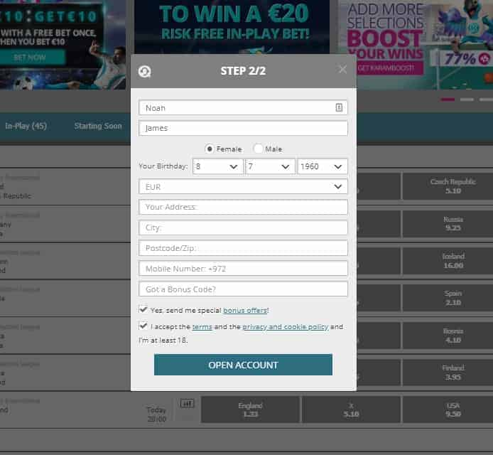 Karamba betting registration and needed information for sign up