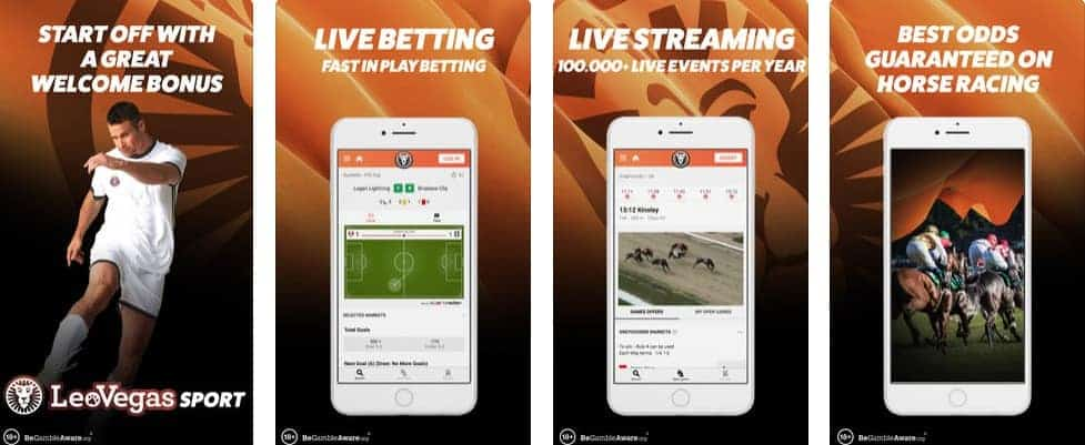 LeoVegas Sports Betting Mobile app Screenshots as Seen on iTunes