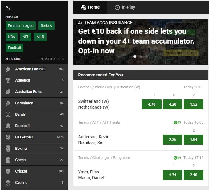 Unibet Online Betting and Markets