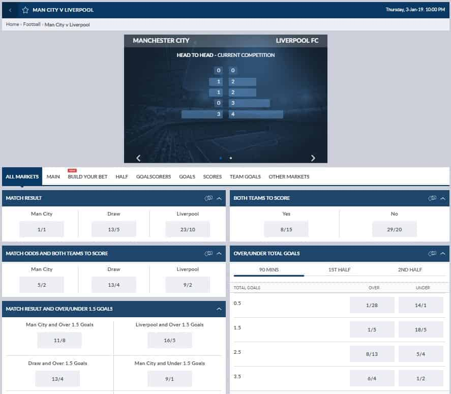 Coral Football Betting Odds and User Interface - Liverpool vs Manchester City Premier League