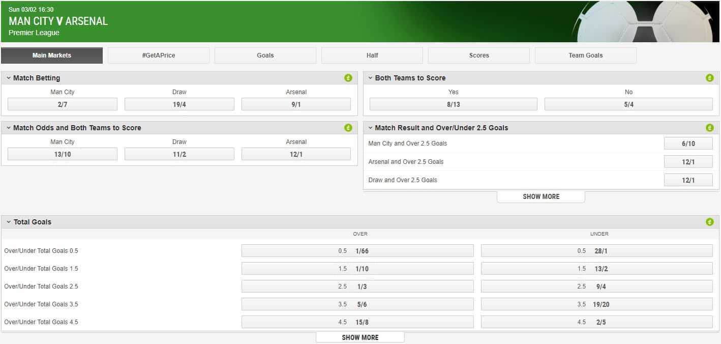 Ladbrokes Football Interface and Odds Arsenal vs Manchester City Premier League