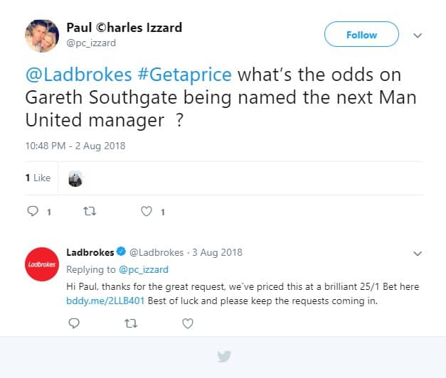 Ladbrokes #Getaprice Gareth Southgate being named the next Man United manager - Ladbrokes Twitter